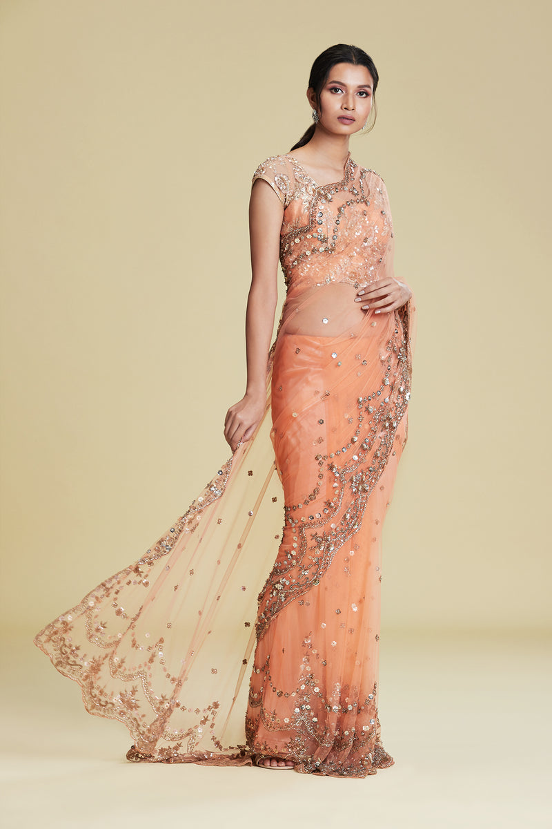 CORAL SEQUIN SCALLOP SARI