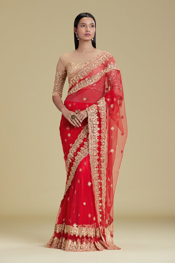 RED SCALLOP LEHENGA SARI