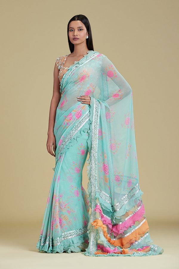 AQUA PRINTED SAREE