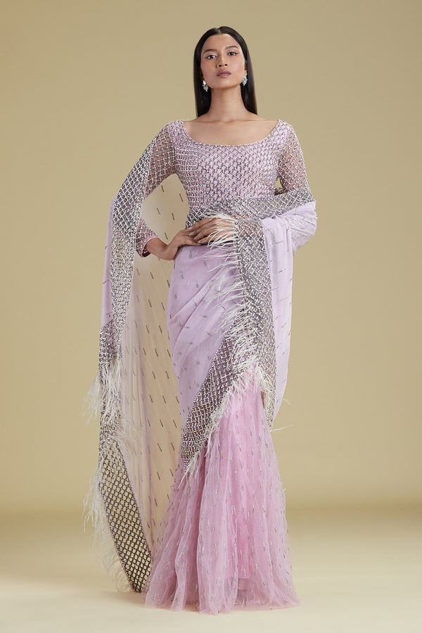 Crystal Lattice Lilac Lehenga Sari