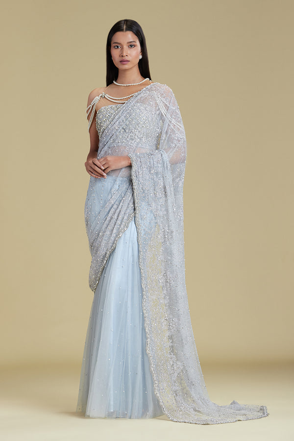 POWDERBLUE STRING SAREE