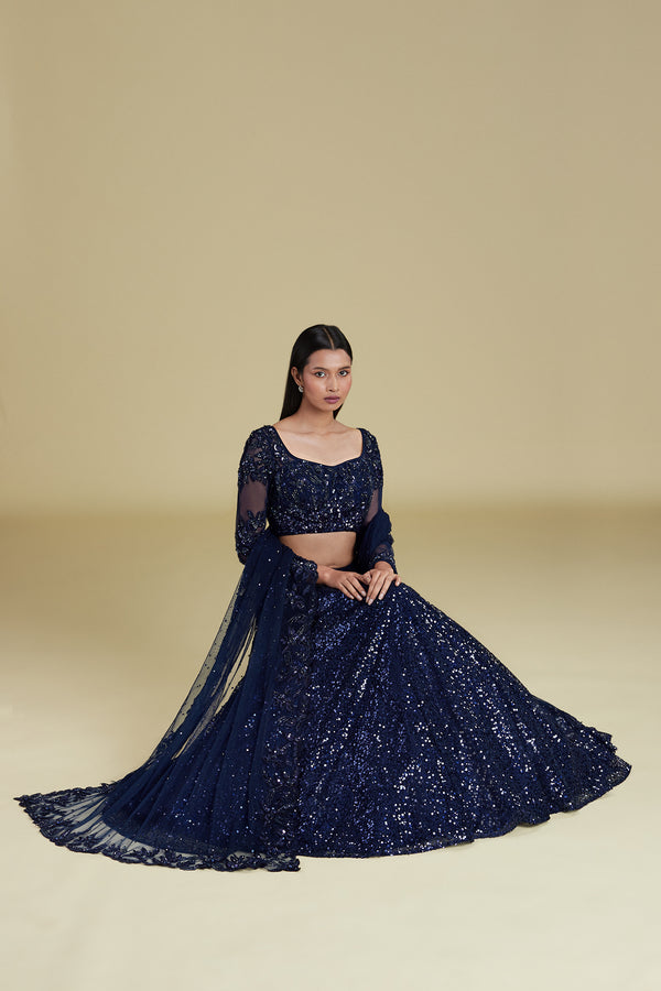 NAVY SEQUIN LEHENGA SET