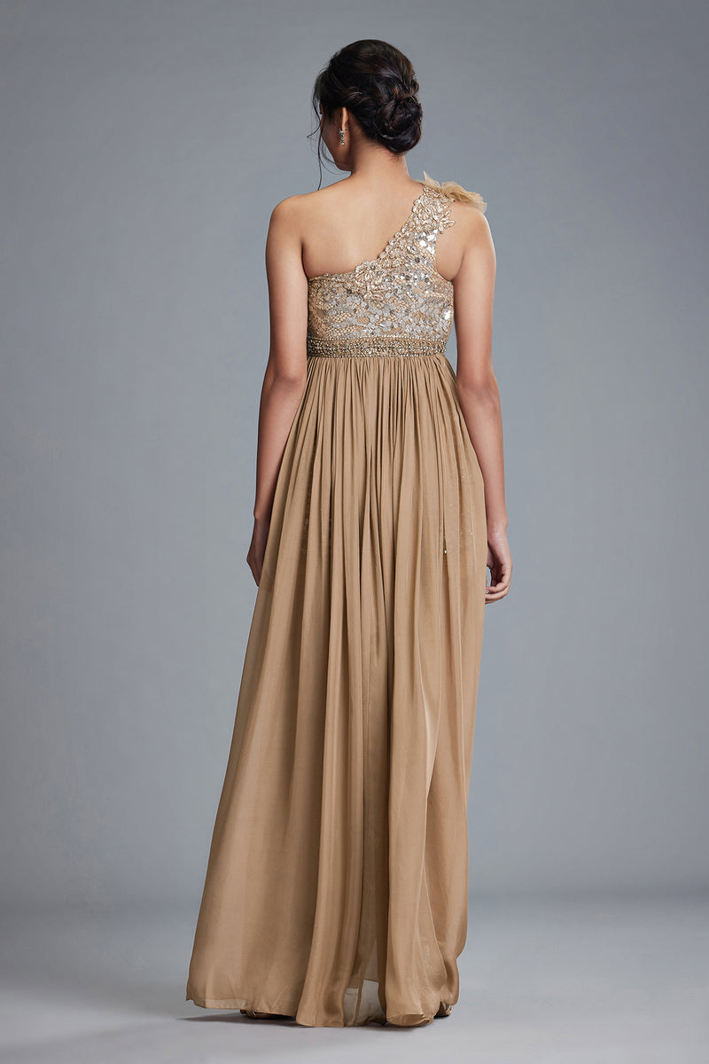 TAUPE ONE SHOULDER GOWN
