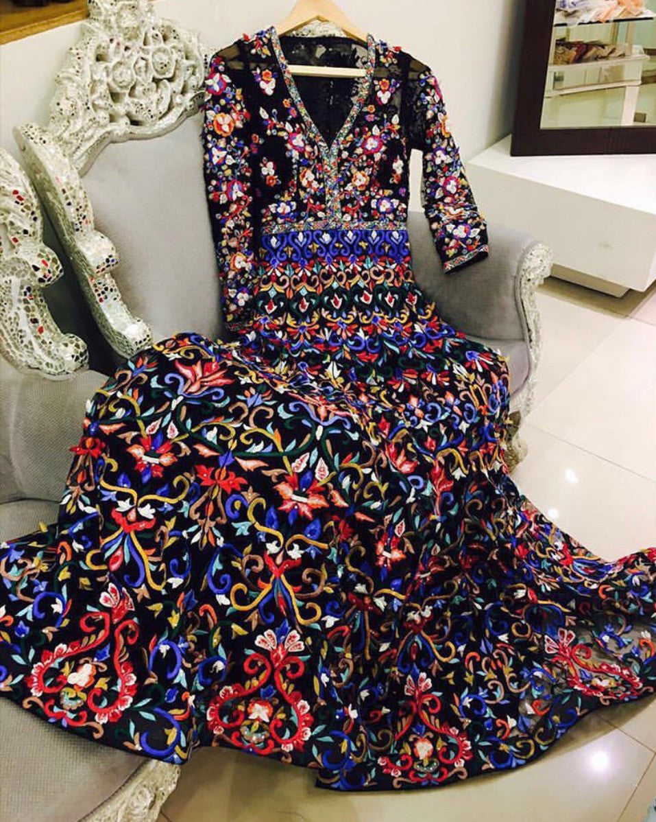 Black Royal Embroidered Anarkali Gown