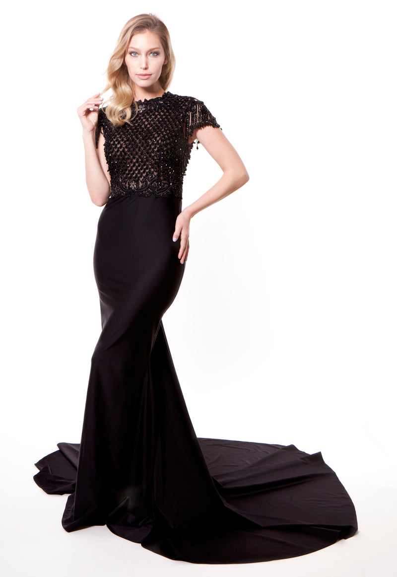 Black Embellished Trail Gown