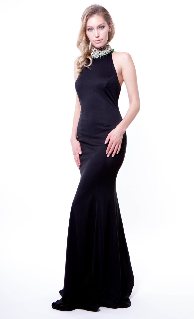 Black Halter Back Embellished Gown