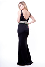 Black Embellished Belt Gown