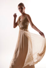 Gold Metallic Halter Gown