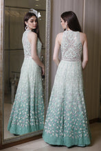 Ombre Aqua Blue Embellished Gown