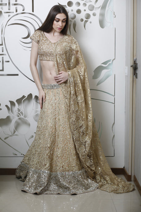 Antique Gold Embellished Lehenga