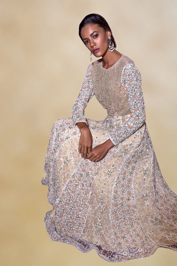 Cream Embroidered Gown