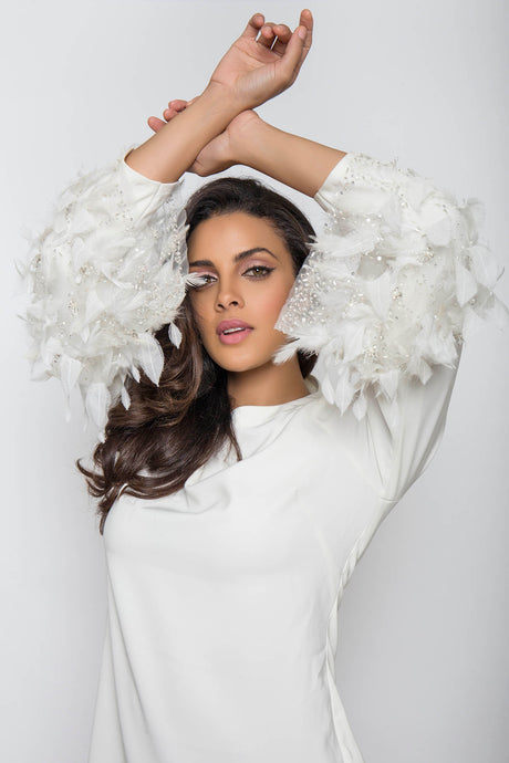 White Feather Cuff Blouse