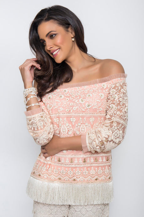 Blush Pink Off-Shoulder Embroidered Tassel Finish Top