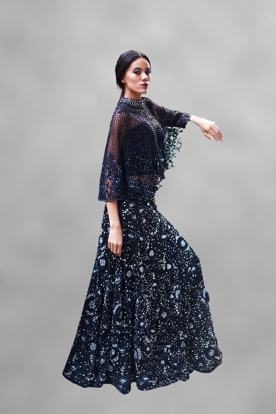 Black Cape & Lehenga Set