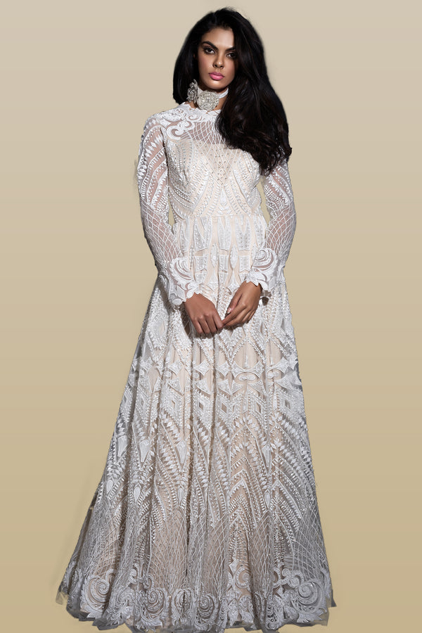 Cream Embroidered Anarkali Gown