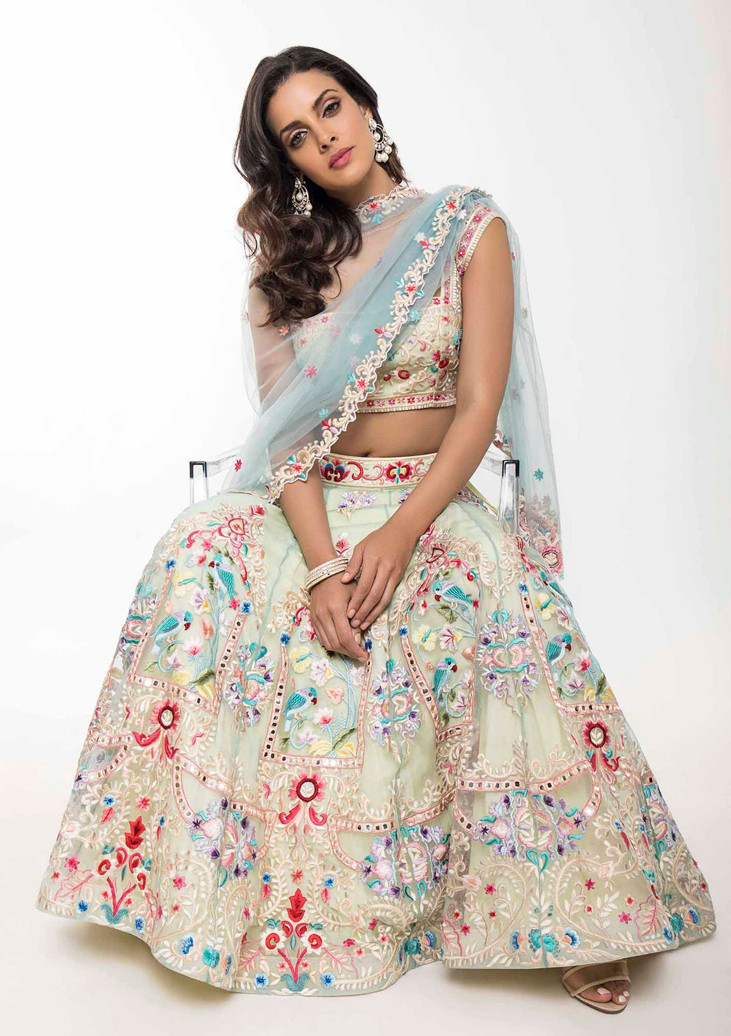 Cream Multi-Color Embellished Lehanga