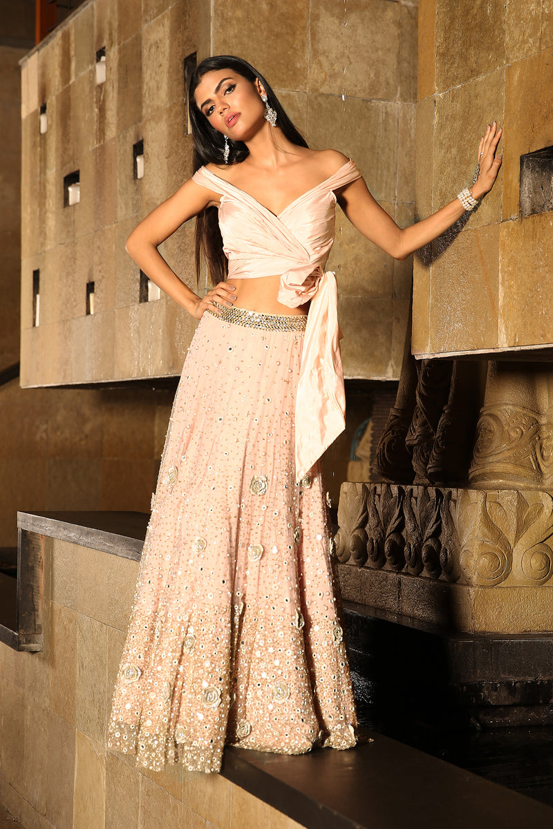 Rose Scattered Lehenga
