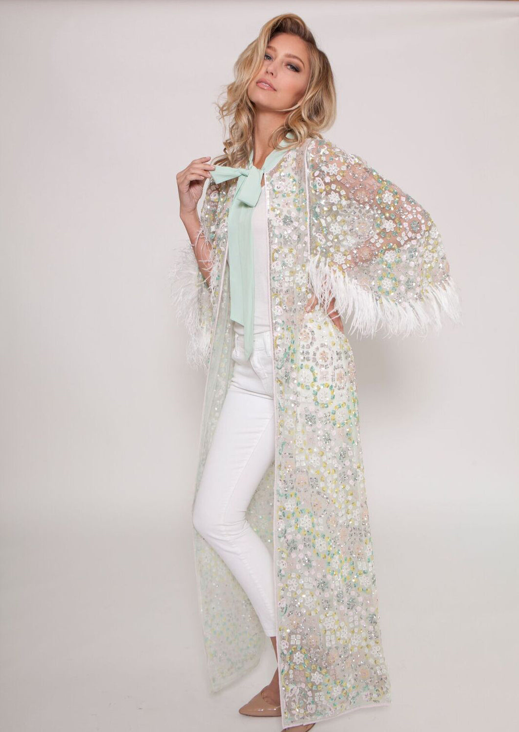 Mint Embellished Feather Cape