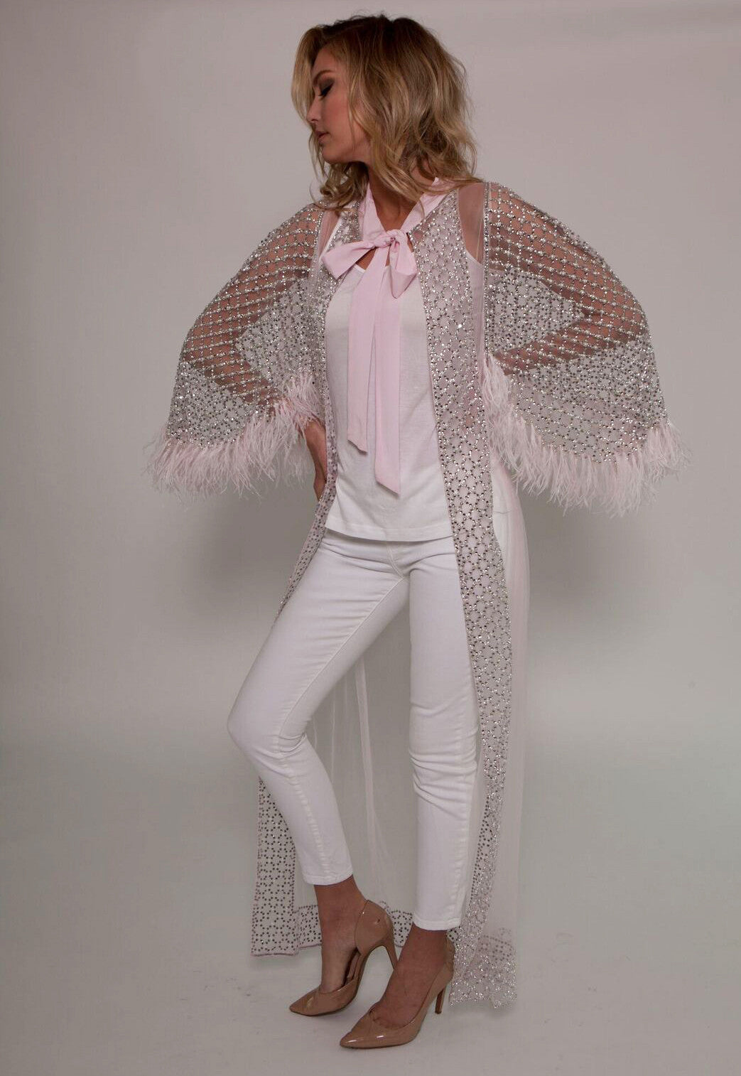 Soft Pink Embellished Feather Cape