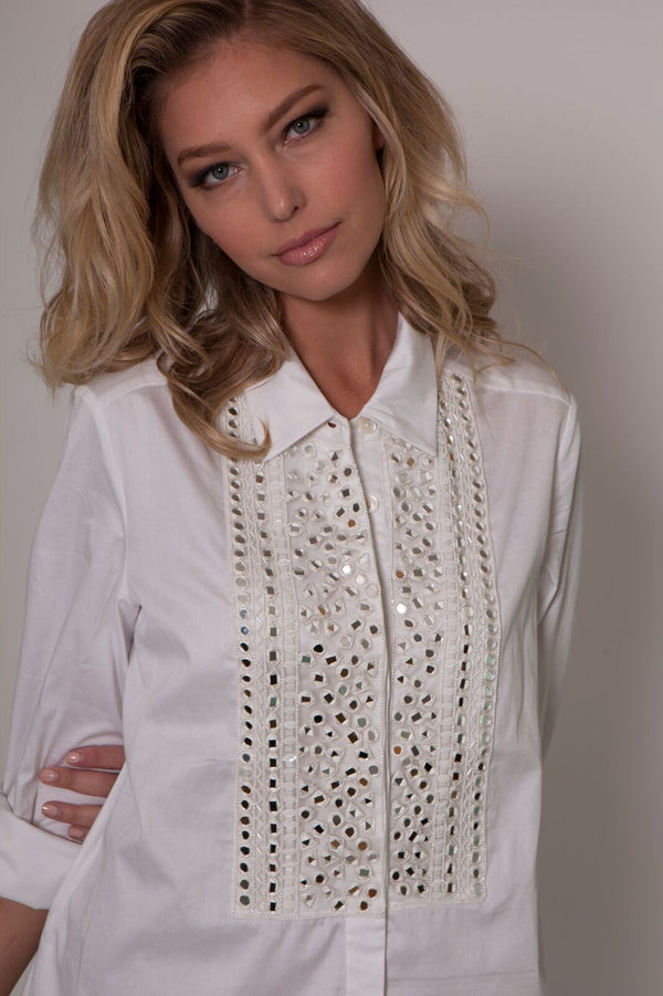 Embellished Mirror Work Shirt