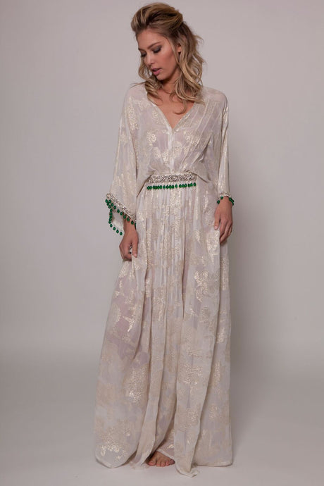Champagne Gold Maxi with Emerald Work