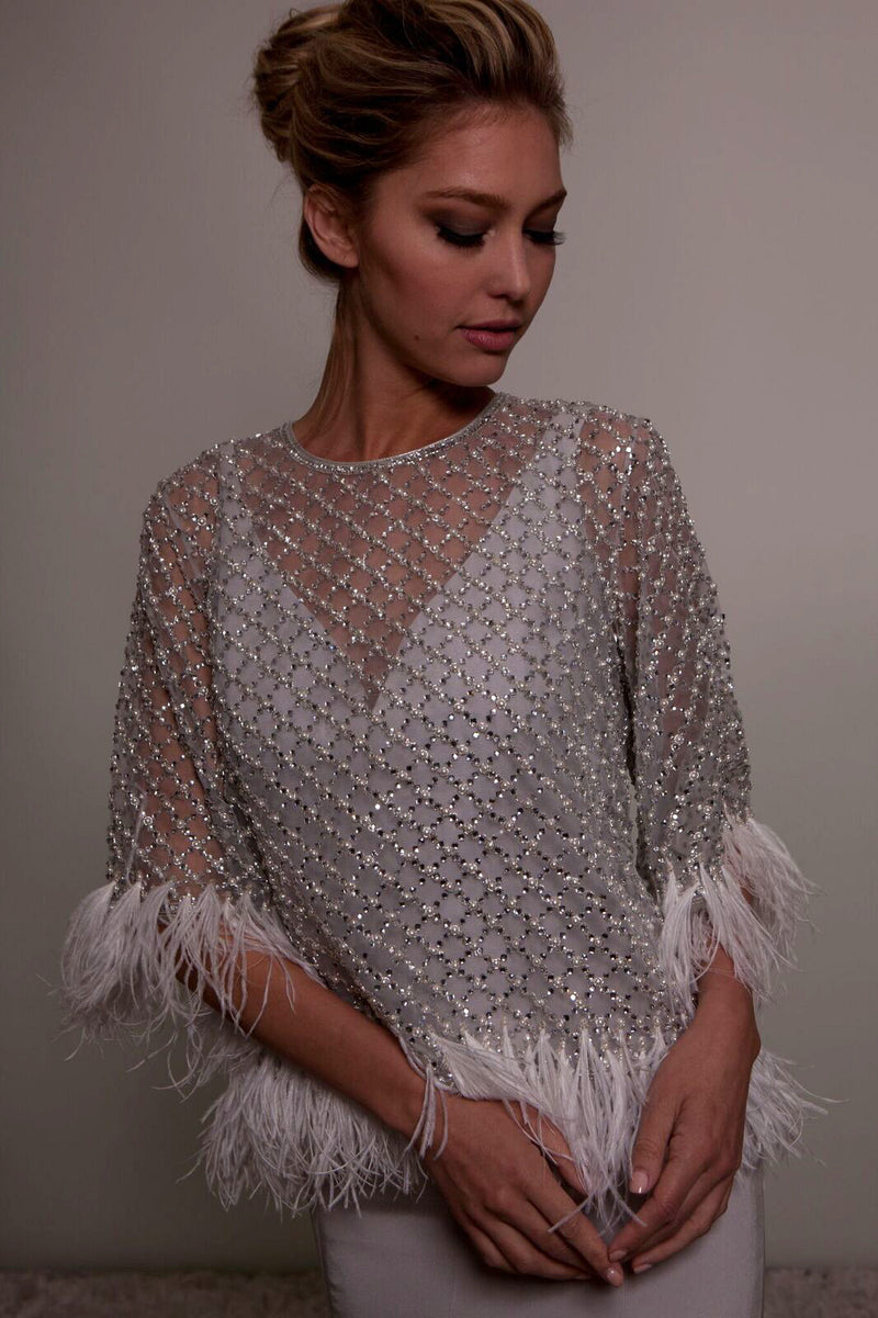 Feather & Crystal Embellished Cape