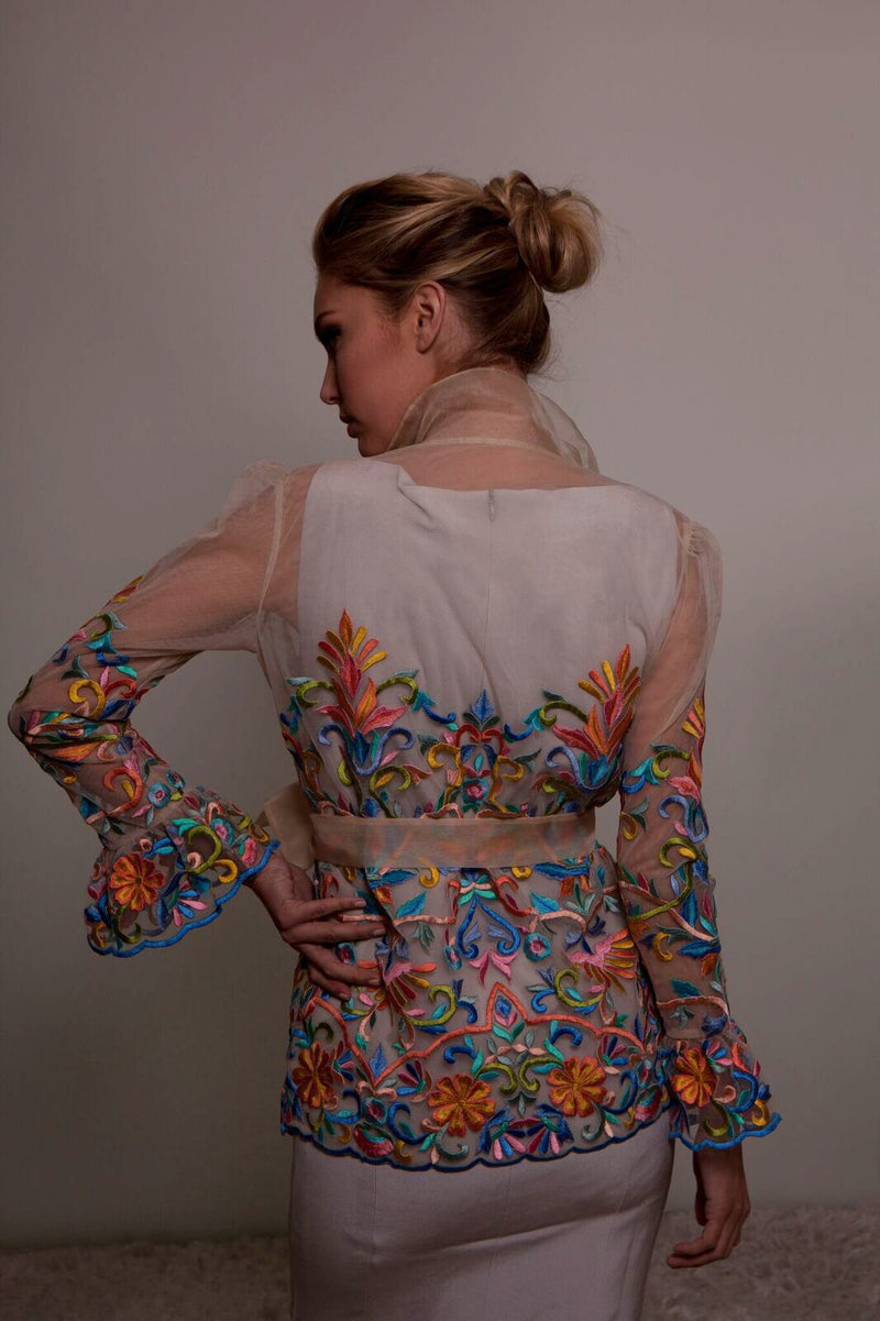 Rainbow Color Embroidered Sheer Jacket