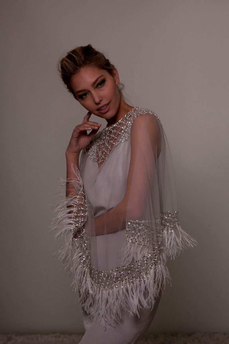 Crystal Embellished Cape with Feathers