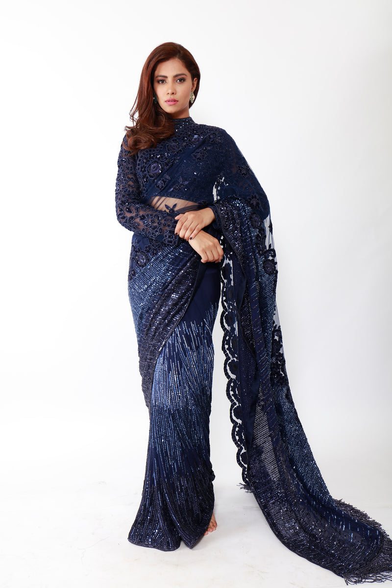 Velvet Cutwork Sequins Sheet Sari Set
