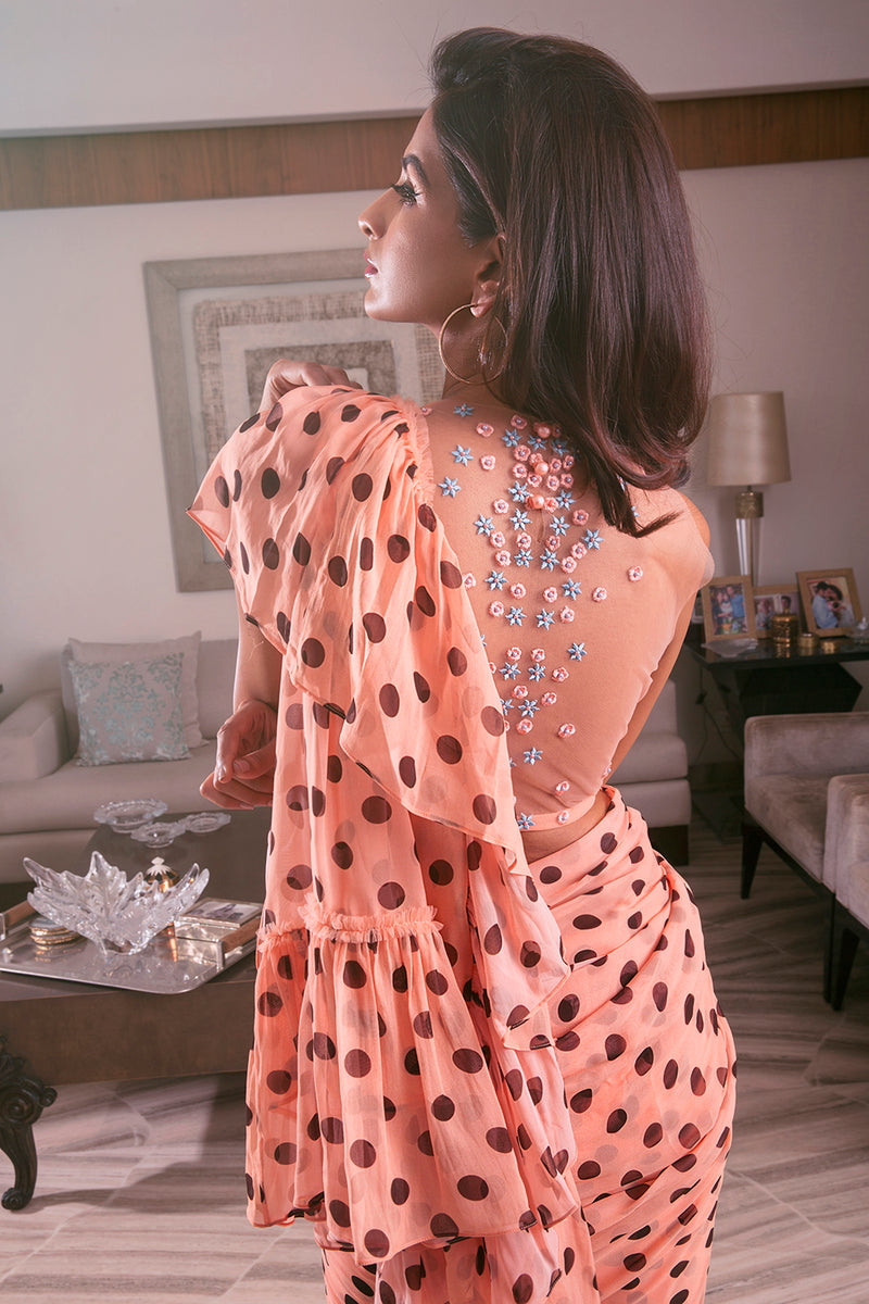 Polka Dot Ruffle Saree