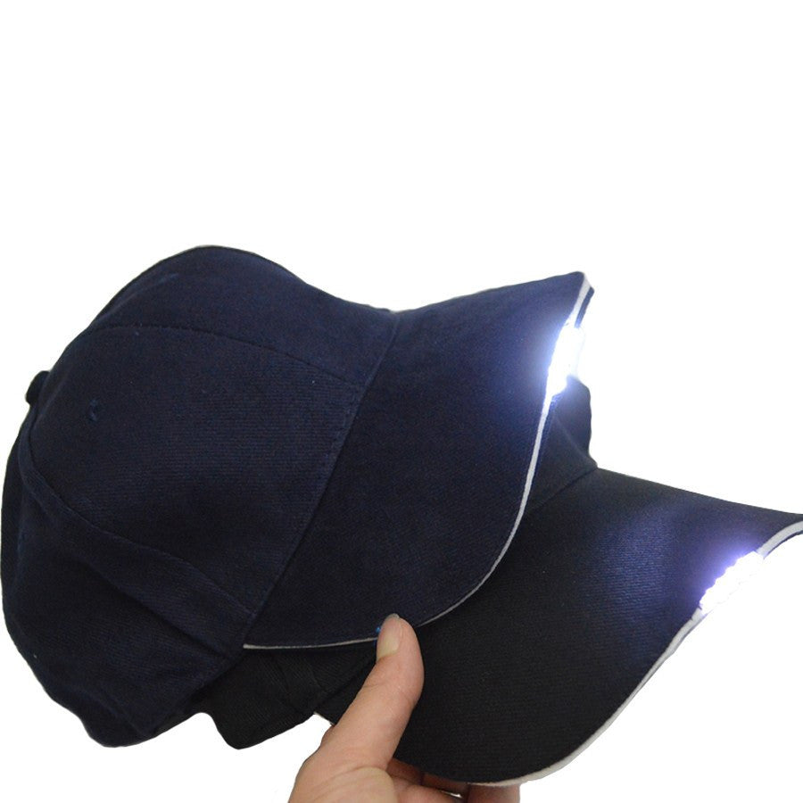 Black LED Flashlight Hat