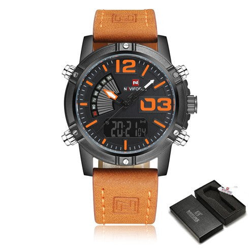 NAVIFORCE Luxury Men Leather Military Sport Watches