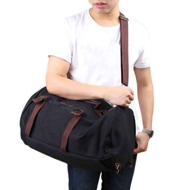 Unisex Vintage Canvas Barrel Hiking Backpack