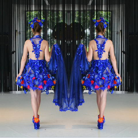 Collection colourful world cutoutdress blue flowers bloom art artwork fashiondesign