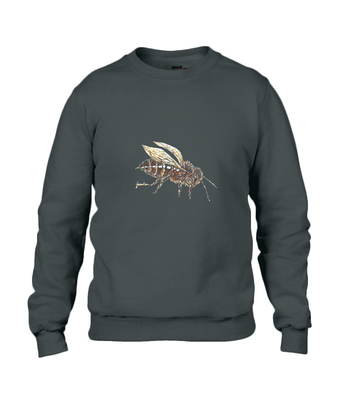 JanaRoos - T-shirts and Sweaters - Sweater - Packshot - Hand drawn illustration - Round neck - Long sleeves - Cotton - Black - Zwart - honey bee - honing bij