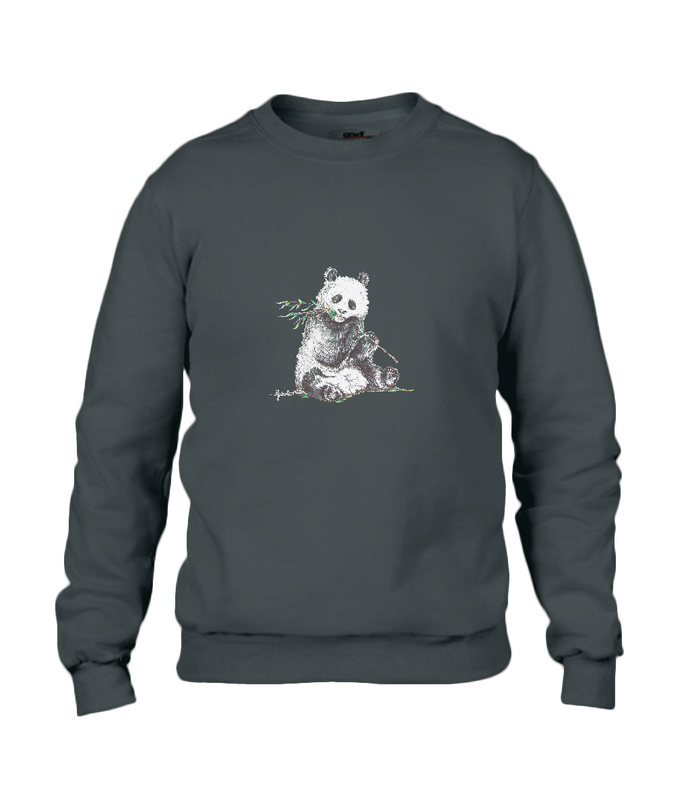 JanaRoos - T-shirts and Sweaters - Sweater - Packshot - Hand drawn illustration - Round neck - Long sleeves - Cotton - Black - Zwart - Panda