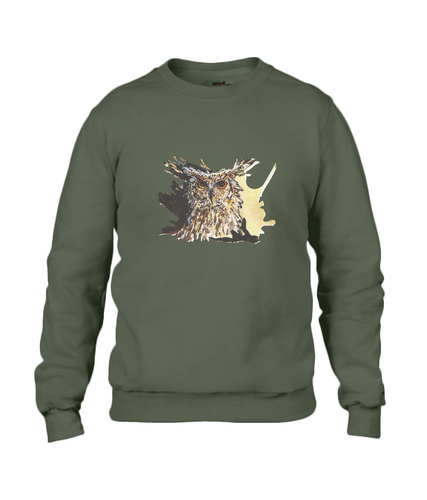JanaRoos - T-shirts and Sweaters - Sweater - Packshot - Hand drawn illustration - Round neck - Long sleeves - Cotton - Khaki Green - Groen - Coffee Owl - Uil