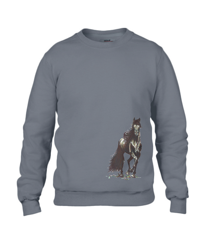 JanaRoos - T-shirts and Sweaters - Sweater - Packshot - Hand drawn illustration - Round neck - Long sleeves - Cotton - charcoal - grijs - merrie - horse - paard