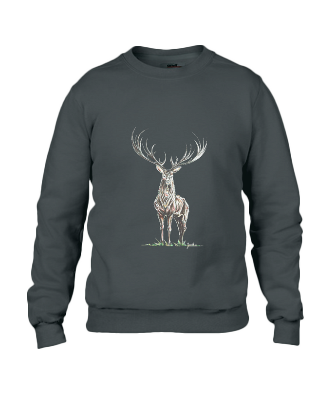 JanaRoos - Unisex sweater - Hand drawn illustration - Print design -black - zwart -  Reindeer - deer - rendier - hert