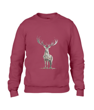 JanaRoos - Unisex sweater - Hand drawn illustration - Print design - independence red - diep rood -  Reindeer - deer - rendier - hert