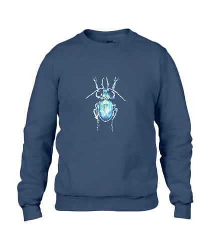 JanaRoos - T-shirts and Sweaters - Sweater - Packshot - Hand drawn illustration - Round neck - Long sleeves - Cotton - Navy Blue - Blauw - The beetle - Kever