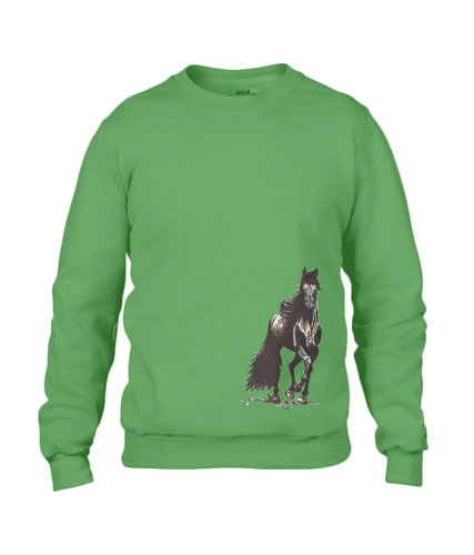 JanaRoos - T-shirts and Sweaters - Sweater - Packshot - Hand drawn illustration - Round neck - Long sleeves - Cotton - apple green - appel groen- merrie - horse - paard
