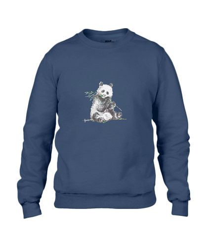 JanaRoos - T-shirts and Sweaters - Sweater - Packshot - Hand drawn illustration - Round neck - Long sleeves - Cotton - Blue - Blauw - Panda
