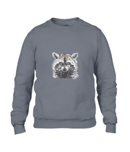 JanaRoos - T-shirts and Sweaters - Sweater - Packshot - Hand drawn illustration - Round neck - Long sleeves - Cotton - charcoal grey - grijs - raccoon - wasbeer - wasbeertje