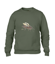 JanaRoos - T-shirts and Sweaters - Sweater - Packshot - Hand drawn illustration - Round neck - Long sleeves - Cotton - city green - Khaki groen - honey bee - honing bij