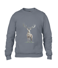 JanaRoos - Unisex sweater - Hand drawn illustration - Print design - Charcoal - grijs -  Reindeer - deer - rendier - hert