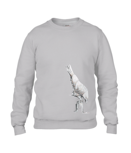 JanaRoos - T-shirts and Sweaters - Sweater - Packshot - Hand drawn illustration - Round neck - Long sleeves - Cotton - Spot Grey - Grijs - White raven - Witte Raaf