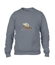 JanaRoos - T-shirts and Sweaters - Sweater - Packshot - Hand drawn illustration - Round neck - Long sleeves - Cotton - Charcoal - grijs - honey bee - honing bij