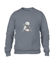 JanaRoos - T-shirts and Sweaters - Sweater - Packshot - Hand drawn illustration - Round neck - Long sleeves - Cotton - Grey - Grijs - Panda