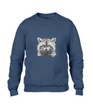 JanaRoos - T-shirts and Sweaters - Sweater - Packshot - Hand drawn illustration - Round neck - Long sleeves - Cotton - Navy Blue - blauw - raccoon - wasbeer - wasbeertje